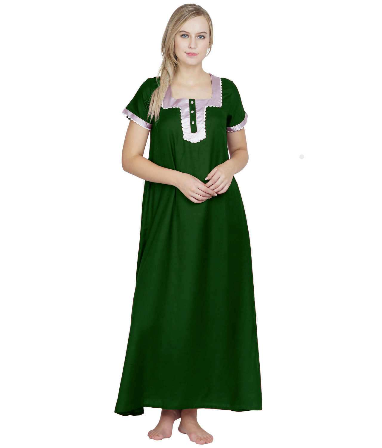 Embellished Square Neck Maxi Night-Gown Nighty in Bottle Green