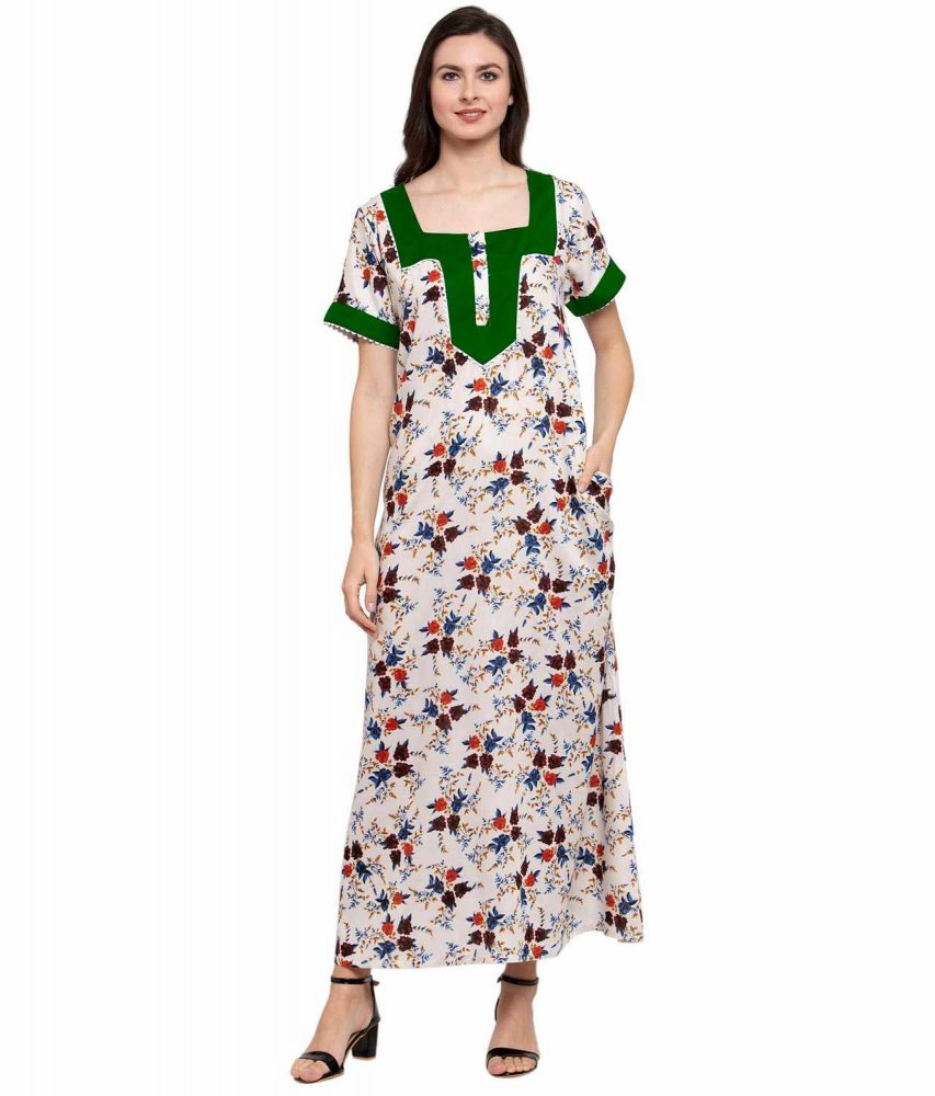 Embellished Square Neck Maxi Night-Gown Nighty in Bottle Green:Cream Print