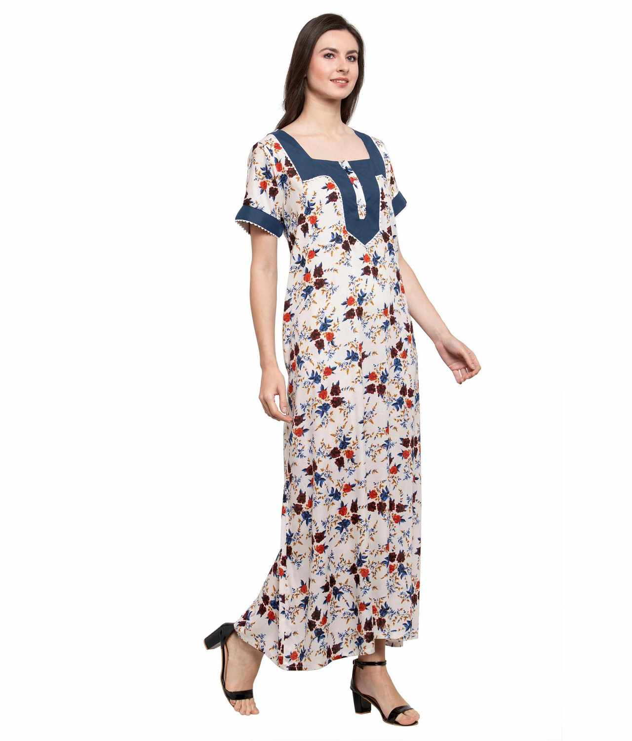 Embellished Square Neck Maxi Night-Gown Nighty in Charcoal Grey:Cream Print