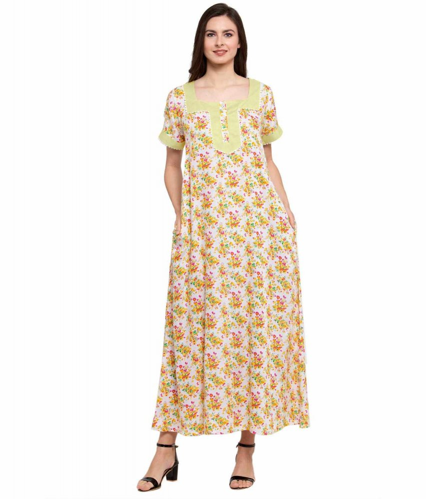 Embellished Square Neck Maxi Night-Gown Nighty in Cream:Yellow Print