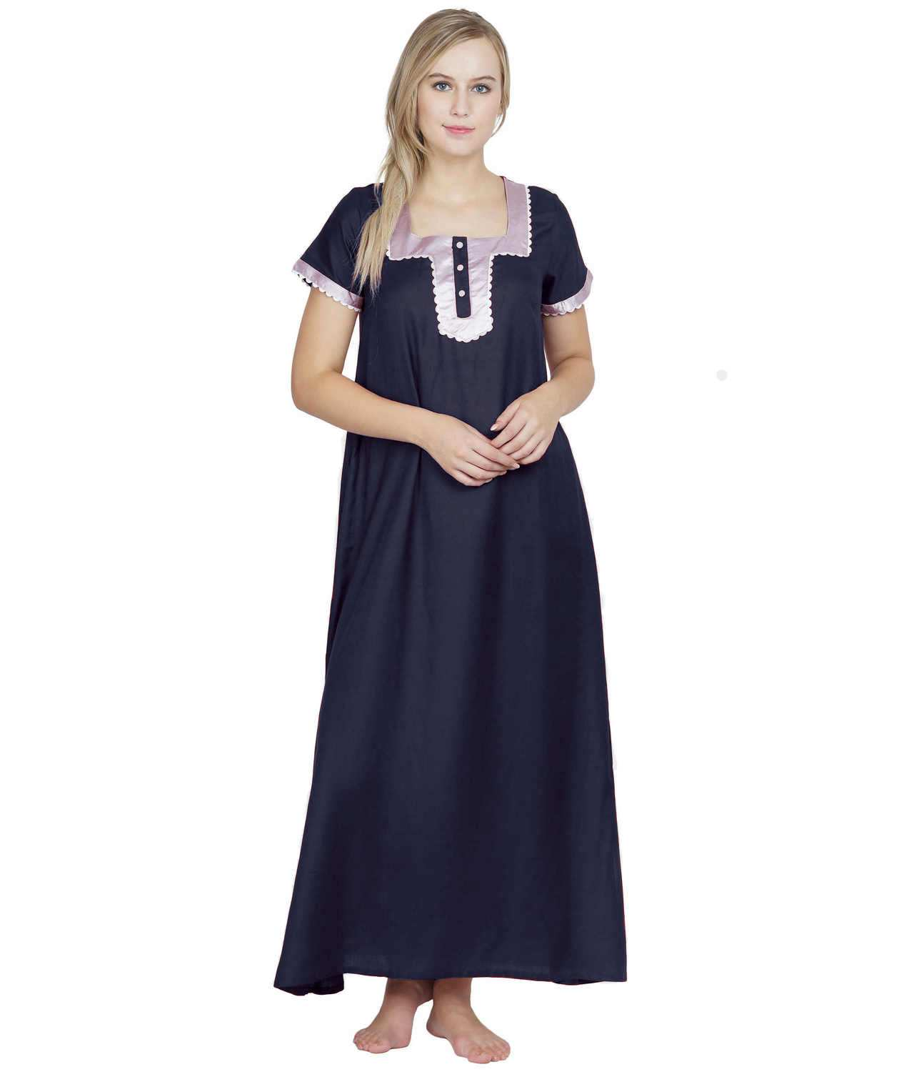 Embellished Square Neck Maxi Night-Gown Nighty in Dark Blue
