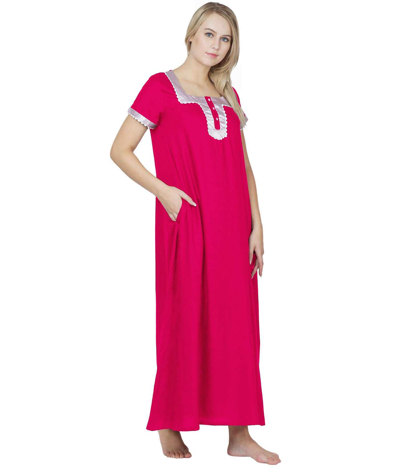 Embellished Square Neck Maxi Night-Gown Nighty in Fuchsia