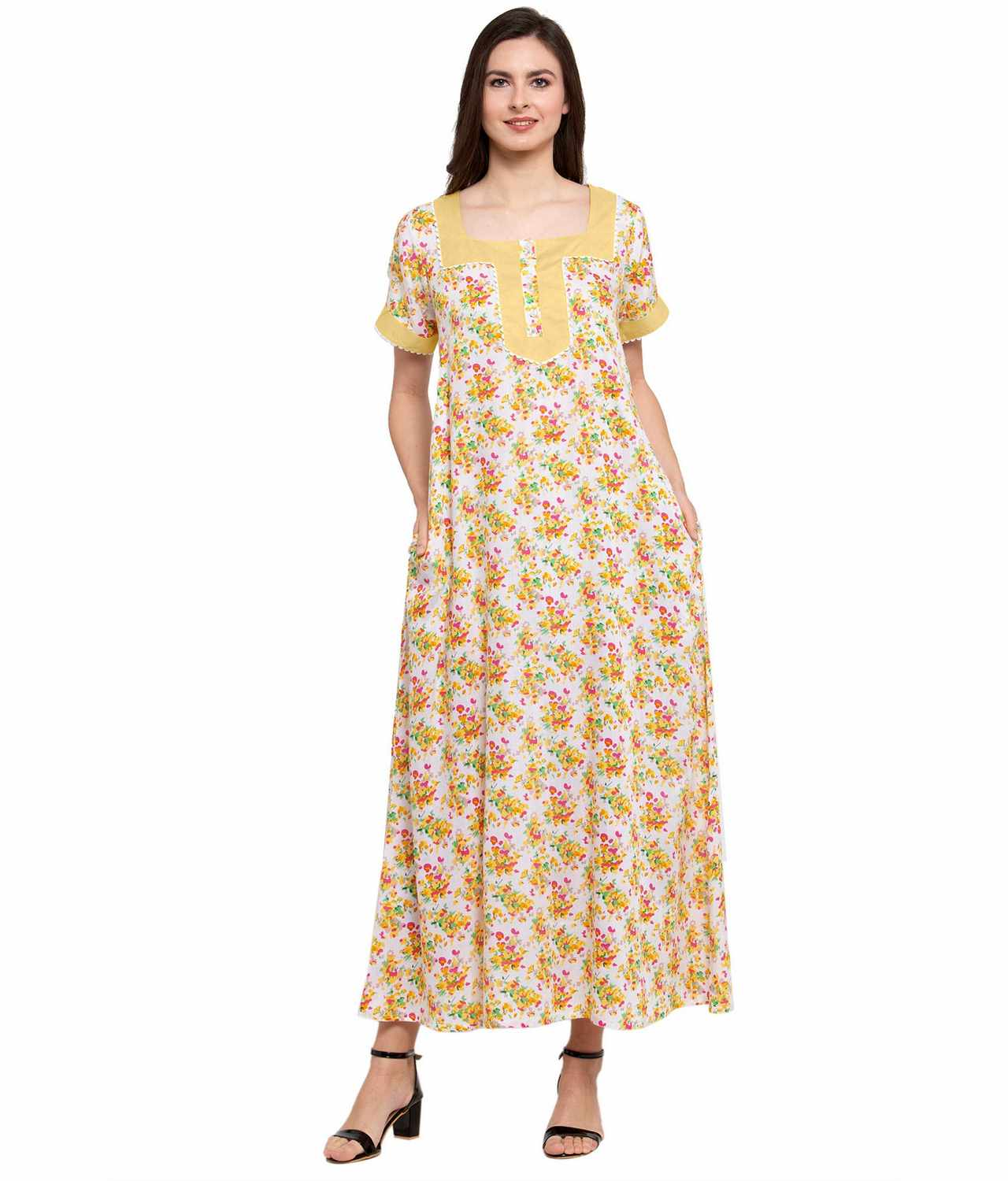 Embellished Square Neck Maxi Night-Gown Nighty in Gold:Yellow Print