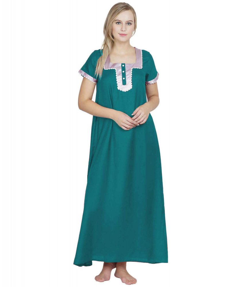 Embellished Square Neck Maxi Night-Gown Nighty in Rama Green