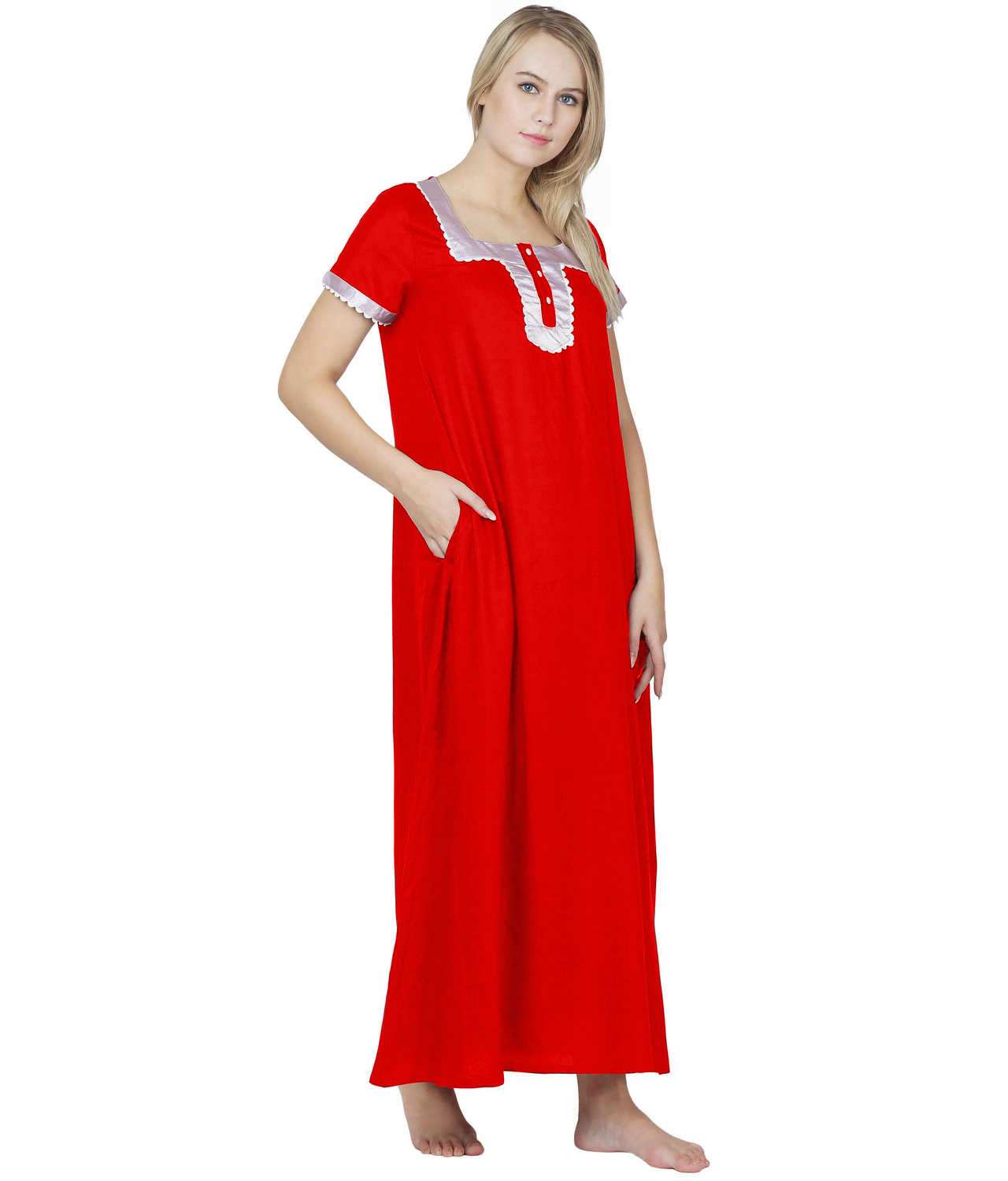 Embellished Square Neck Maxi Night-Gown Nighty in Red