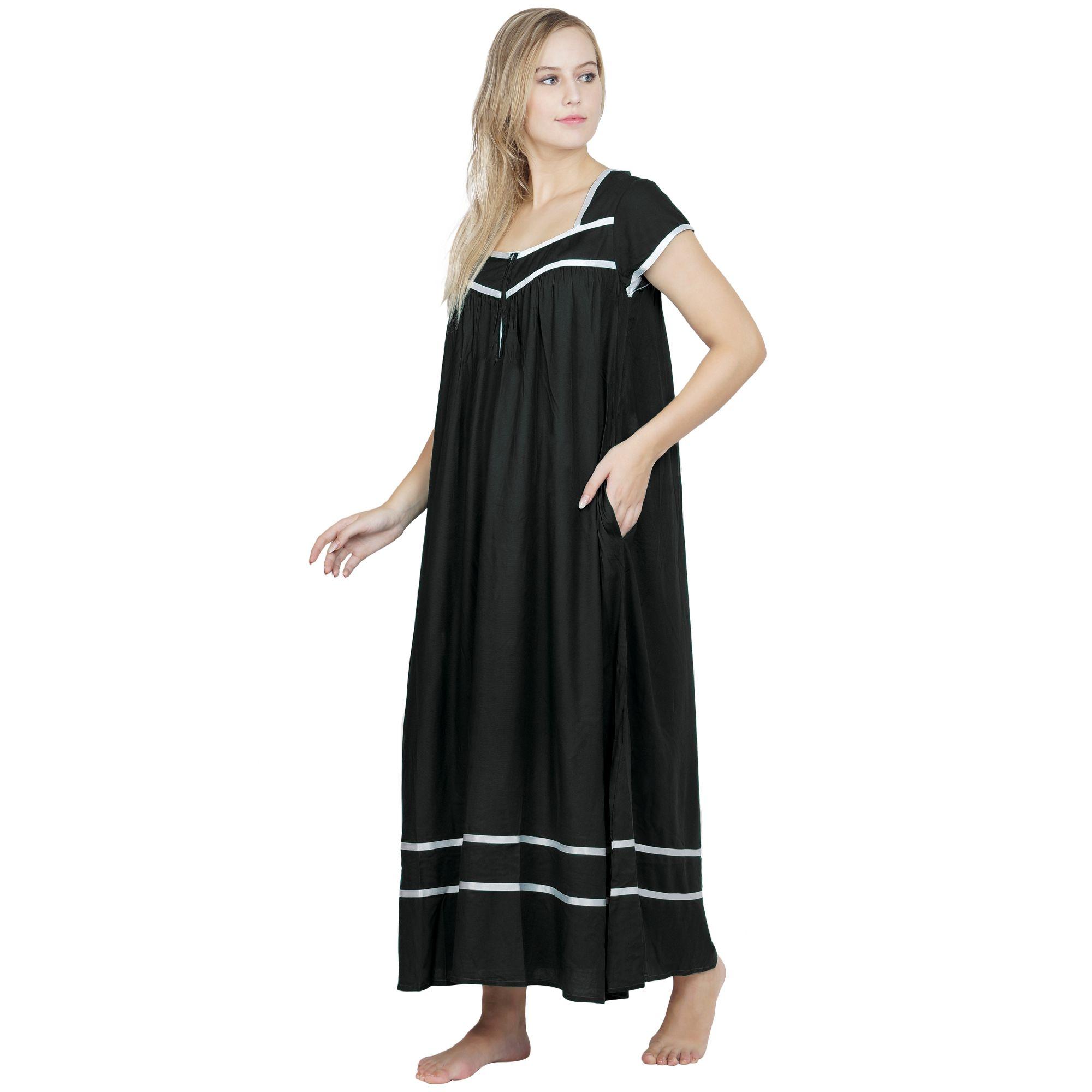Embellished Stylish Front Zip Nighty in Black