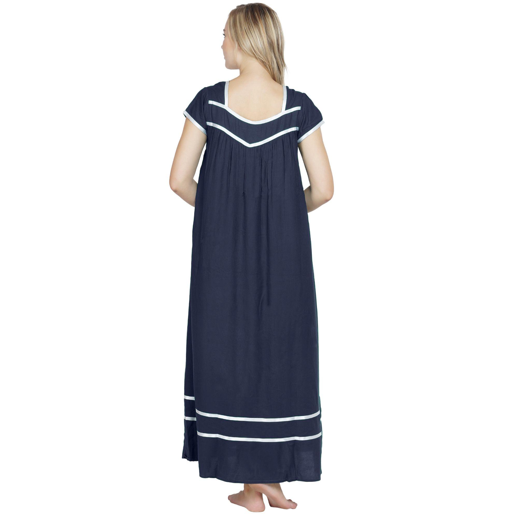 Embellished Stylish Front Zip Nighty in Dark Blue