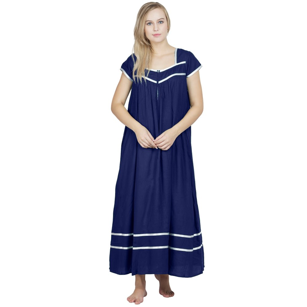 Embellished Stylish Front Zip Nighty in Royal Blue