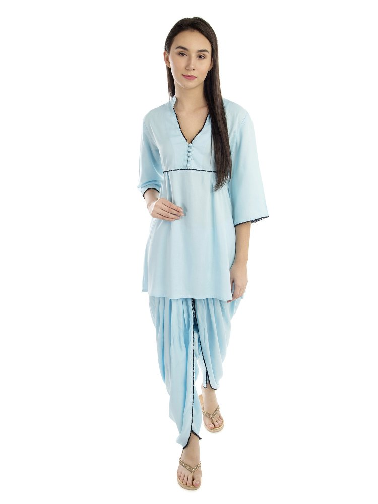 Embellished Top and Dhoti Pant Set in Light Blue