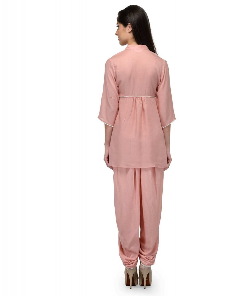 Embellished Top and Dhoti Pant Set in Peach