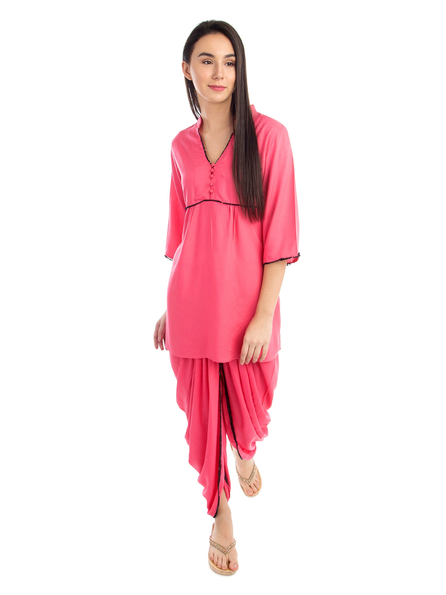 Embellished Top and Dhoti Pant Set in Vinyl Hot Pink