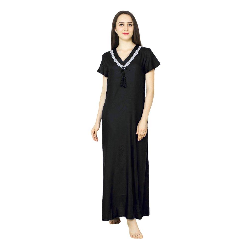 Embellished V-Neck Shift Maxi Nighty  in Black