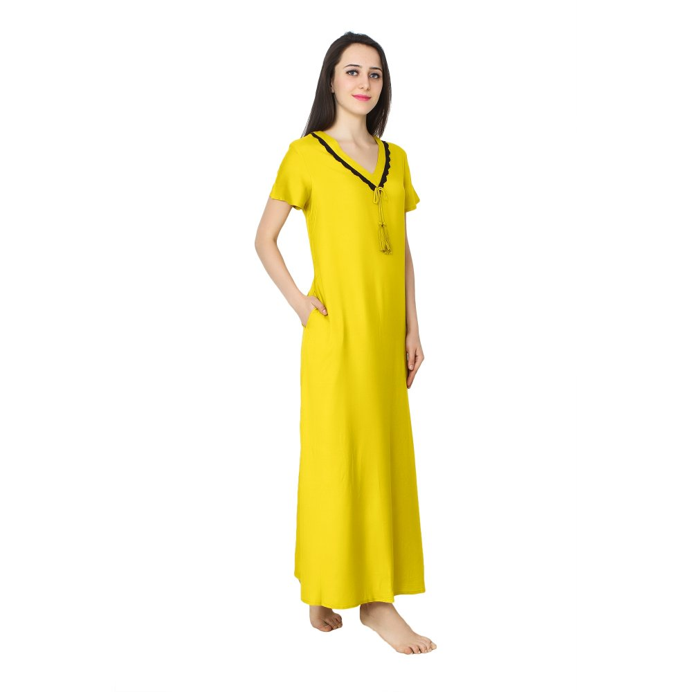 Embellished V-Neck Shift Maxi Nighty  in Yellow