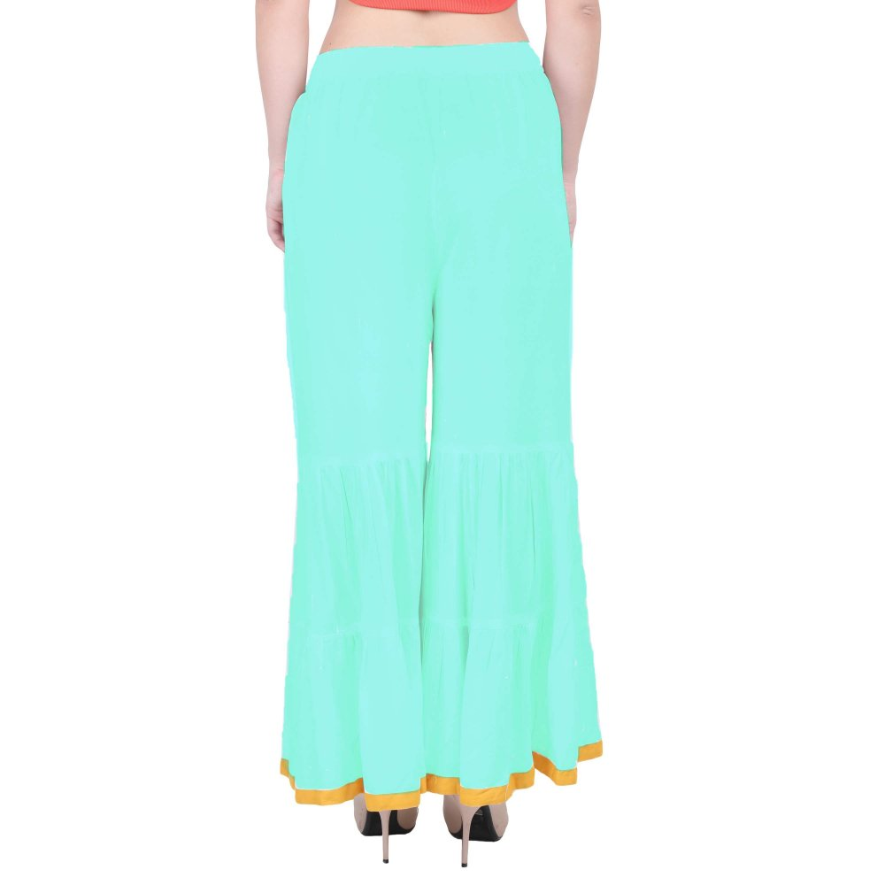 Embellished Wide Leg Palazzo Pant in Teal Green
