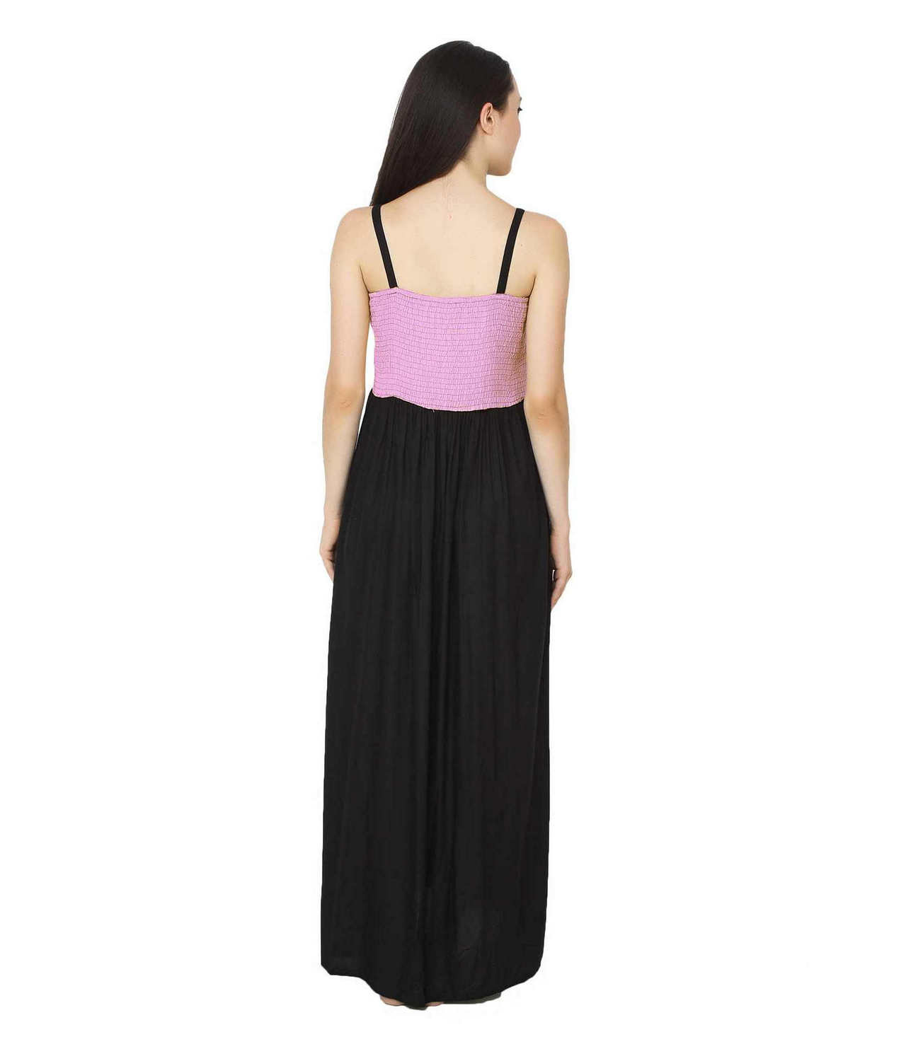 Embroidered Blouson Maxi Dress in Baby Pink:Black