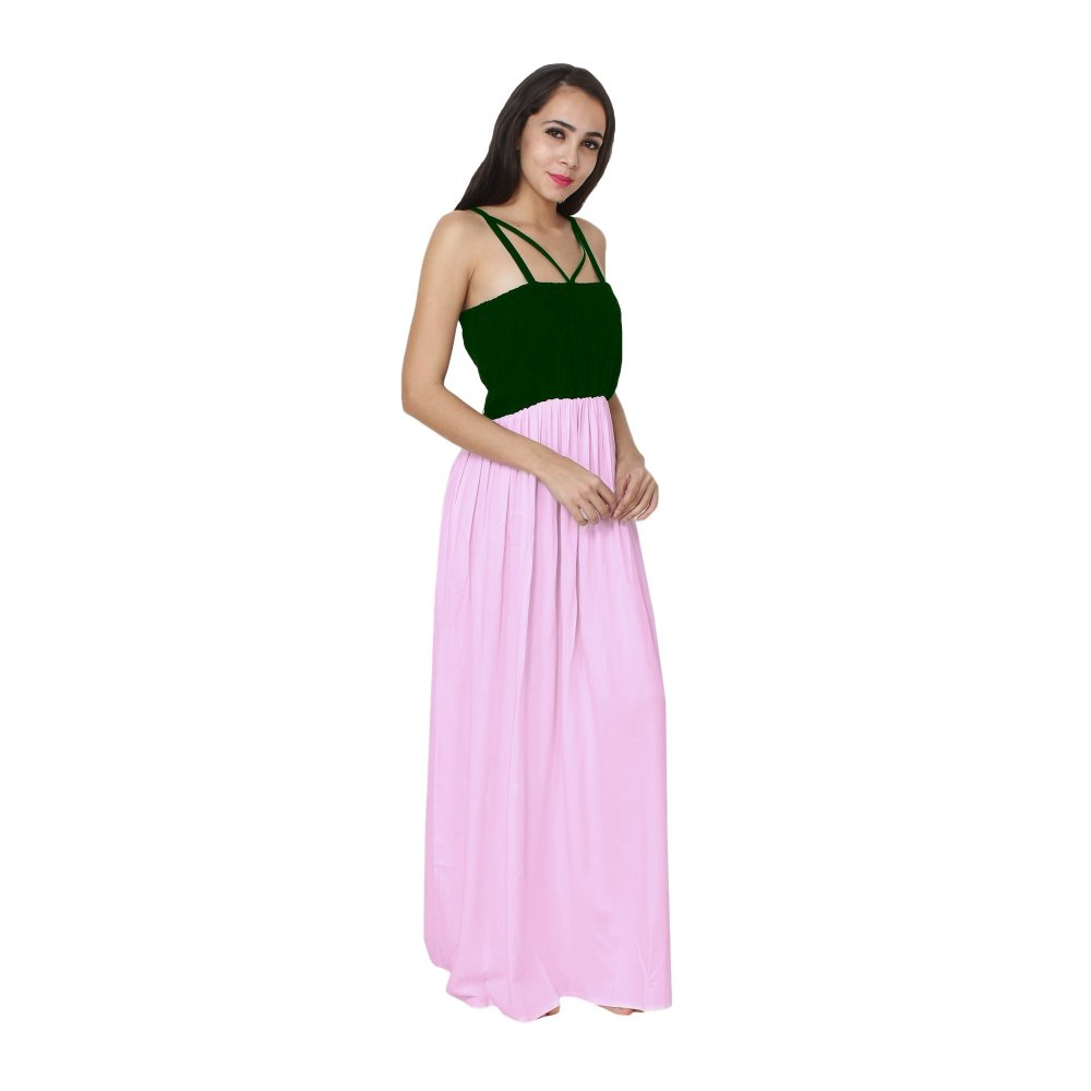 Embroidered Blouson Maxi Dress in Bottle Green:Baby Pink