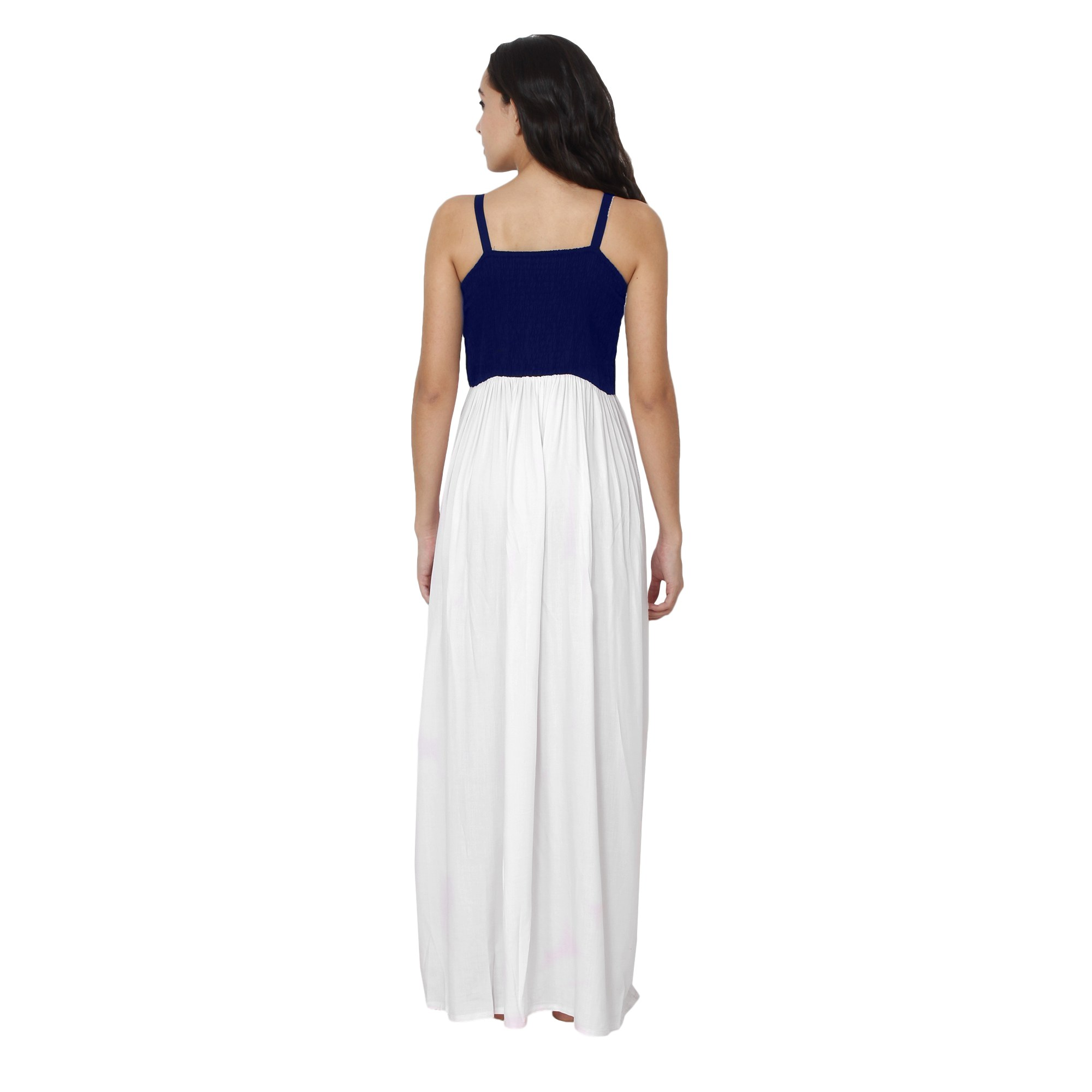 Embroidered Blouson Maxi Dress in Royal Blue:White
