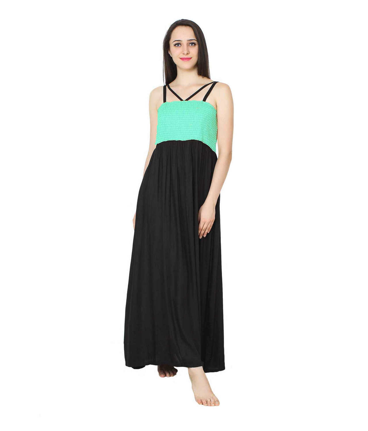 Embroidered Blouson Maxi Dress in Teal Green:Black