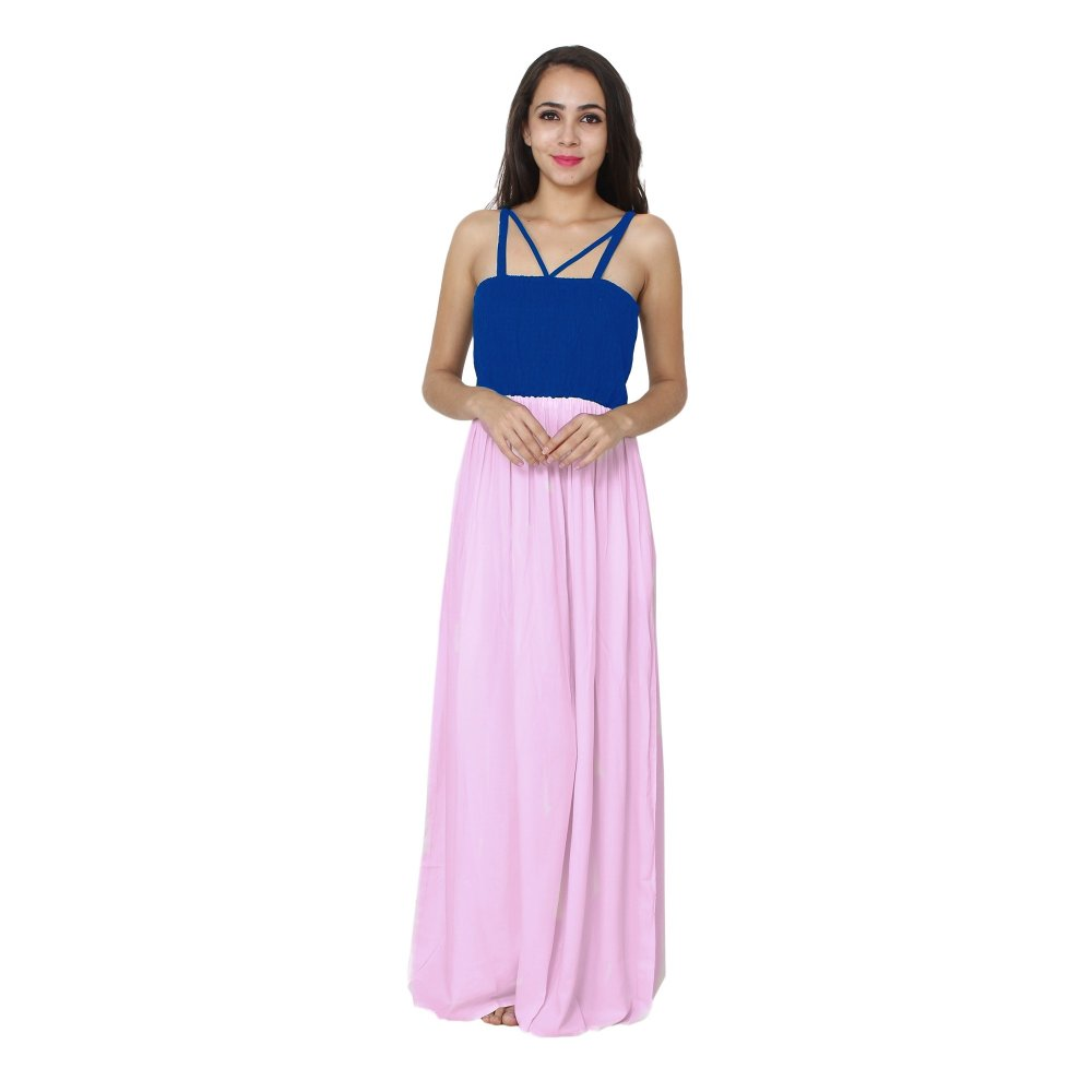 Embroidered Blouson Maxi Dress in Turquoise:Baby Pink