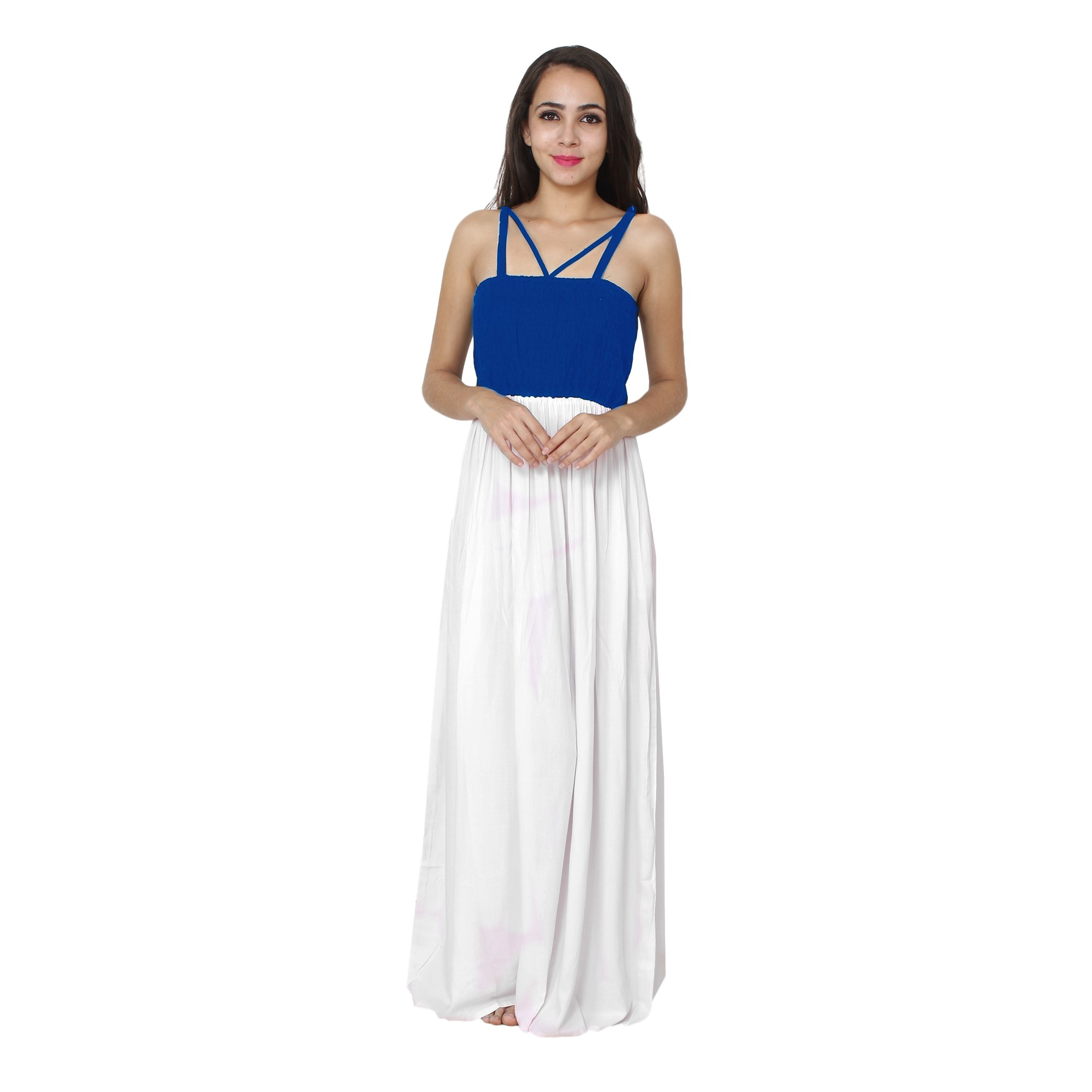 Embroidered Blouson Maxi Dress in Turquoise:White
