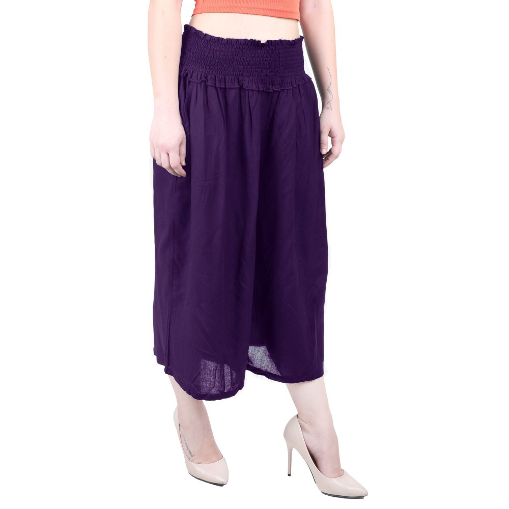 Embroidered Waist Capri Pant in Purple