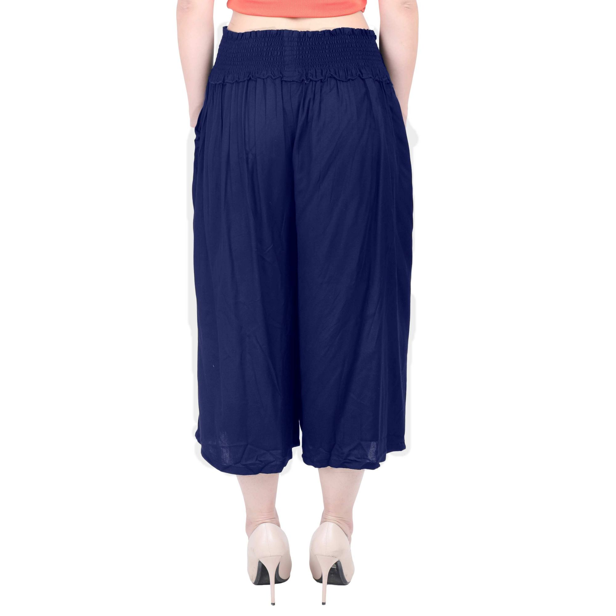 Embroidered Waist Capri Pant in Royal Blue