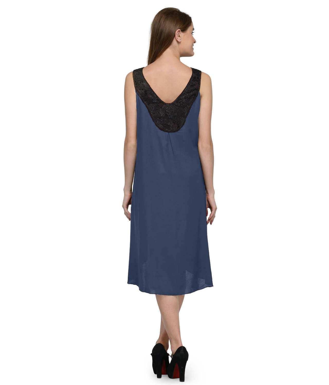 Fit & Flare Knee Length Dress in Black:Grey