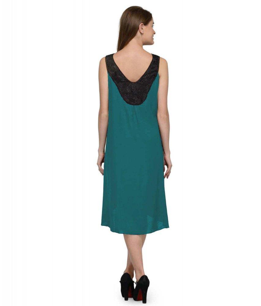 Fit & Flare Knee Length Dress in Black:Rama Green