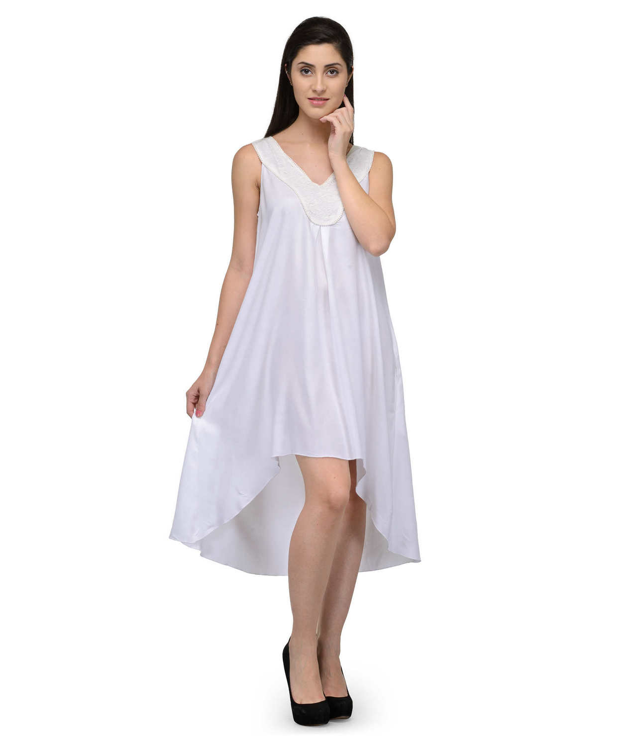Fit & Flare Knee Length Dress in White
