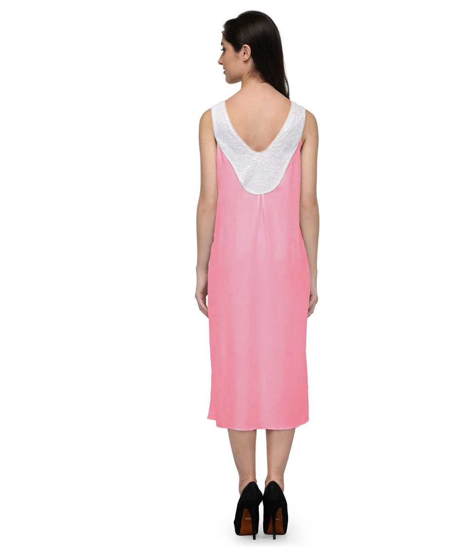 Fit & Flare Knee Length Dress in White:Vinyl Hot Pink