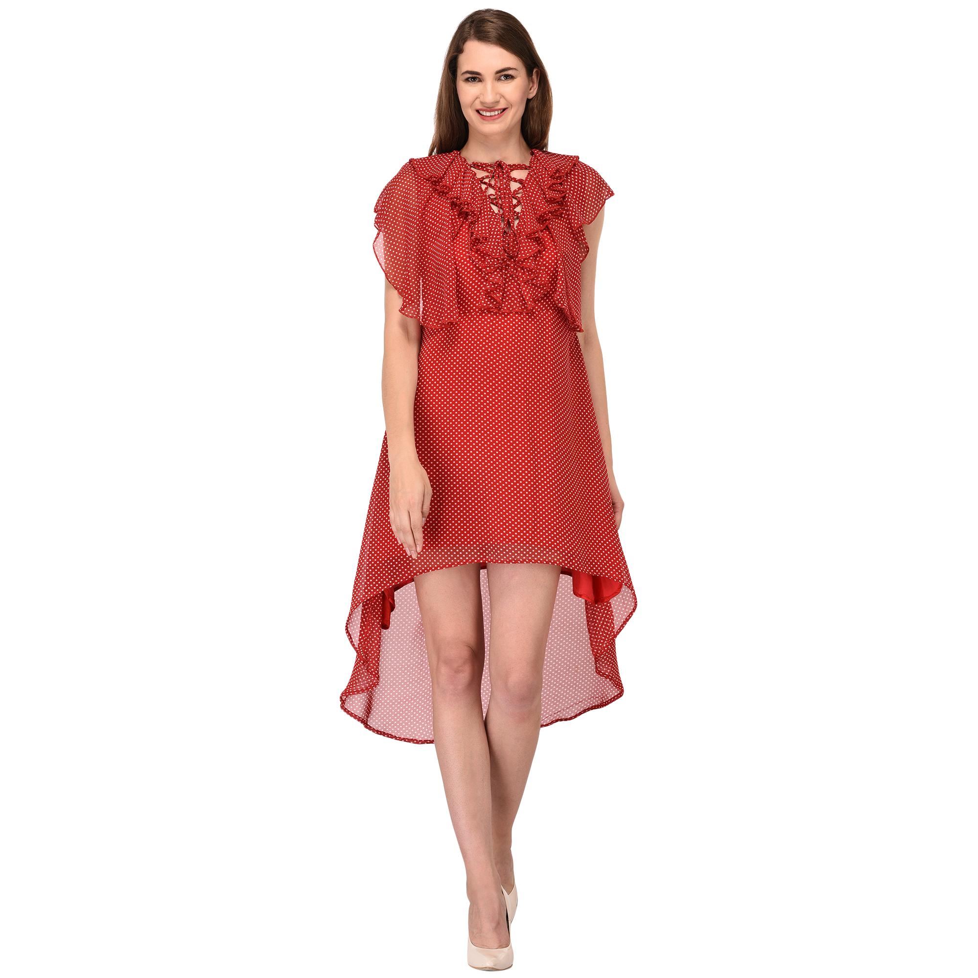 Fit & Flare Midi Dress in Red Polka Print