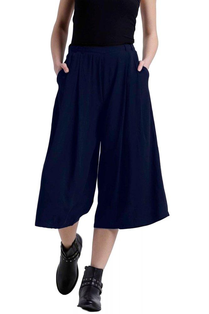 Flared Culotte Capri Trouser in Dark Blue