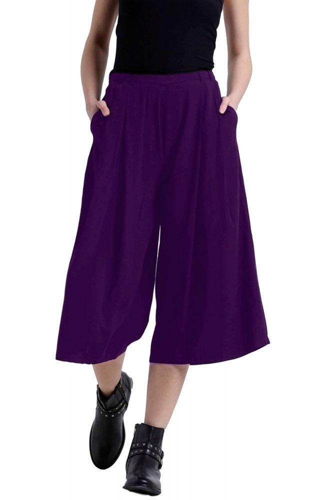 Flared Culotte Capri Trouser in Purple