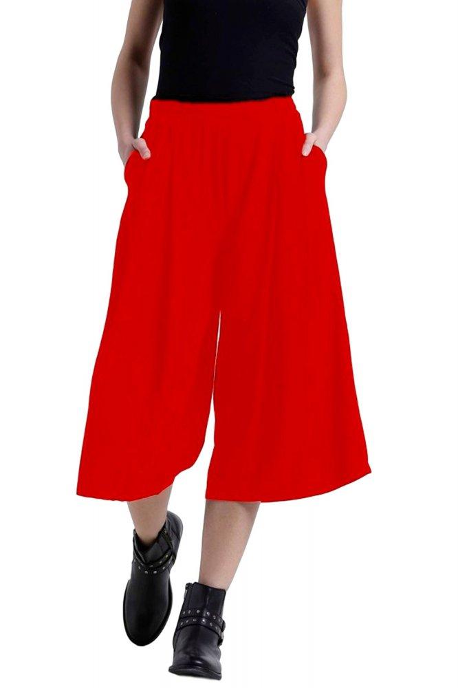 Flared Culotte Capri Trouser in Red