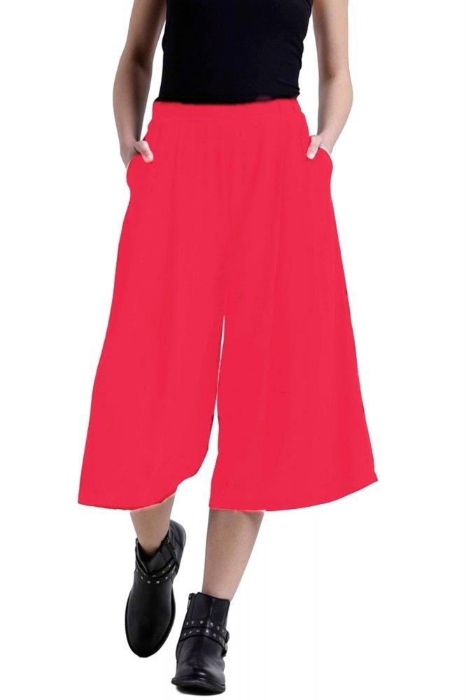 Flared Culotte Capri Trouser in Vinyl Hot Pink