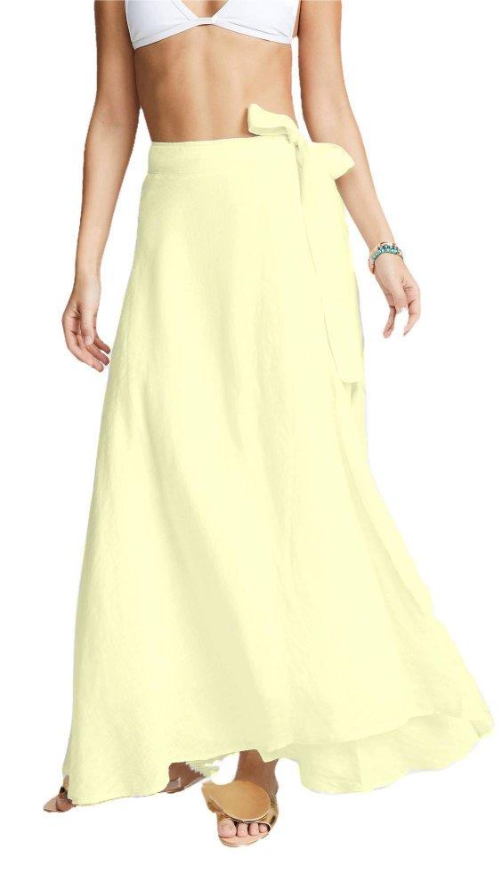 Flared Full Length Wrap Skirt  in Beige