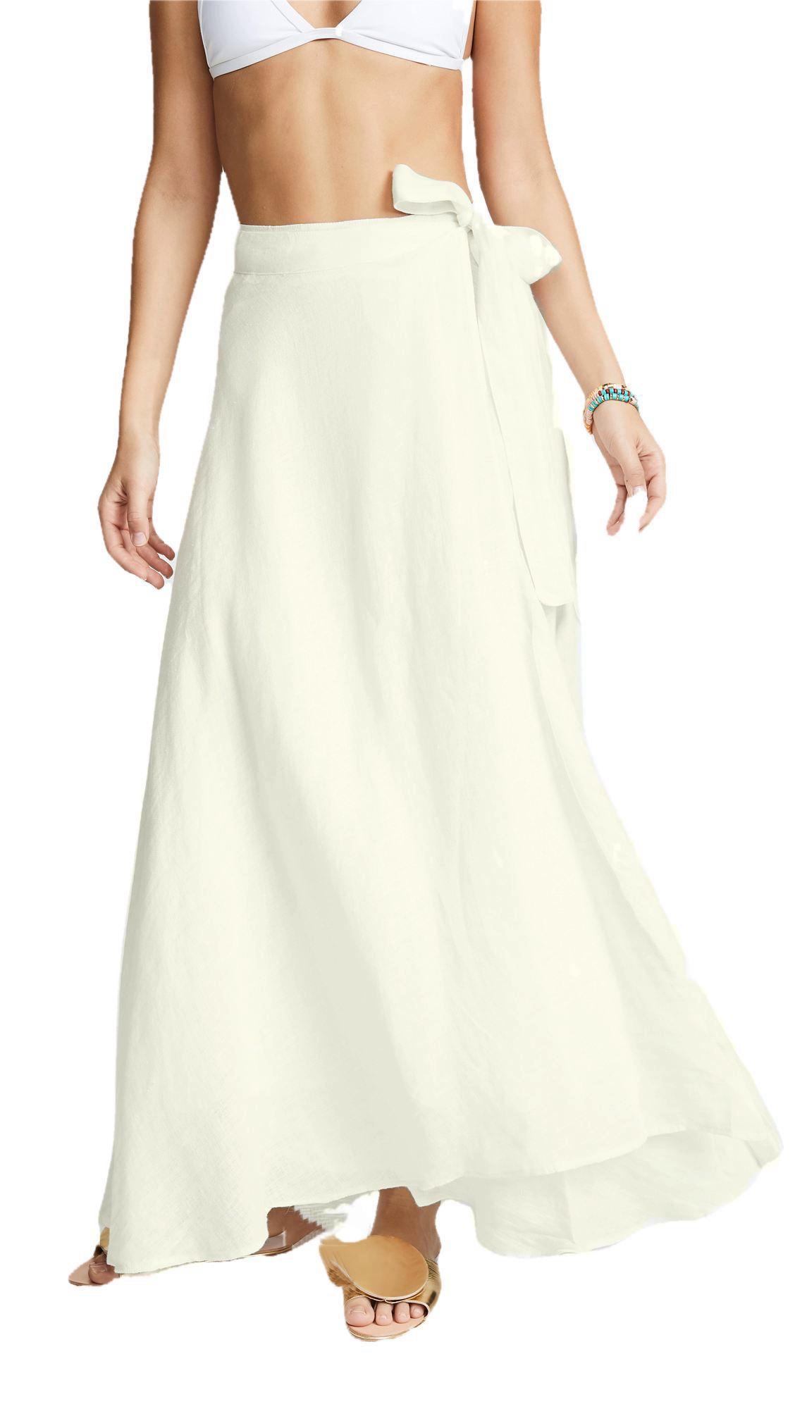 Flared Full Length Wrap Skirt  in Off-White