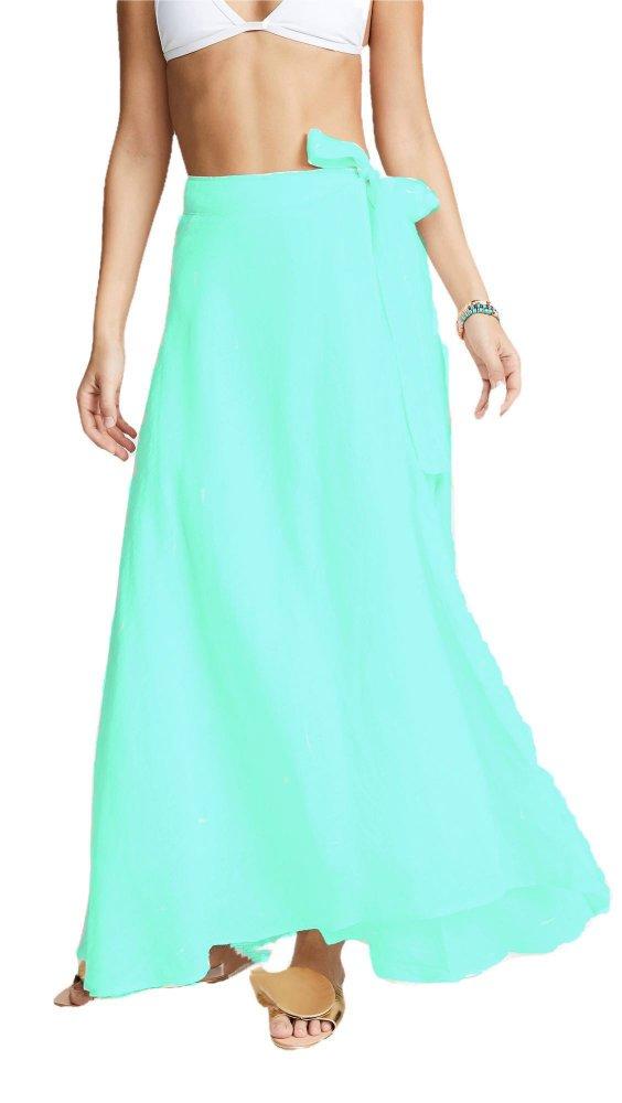 Flared Full Length Wrap Skirt  in Teal Green