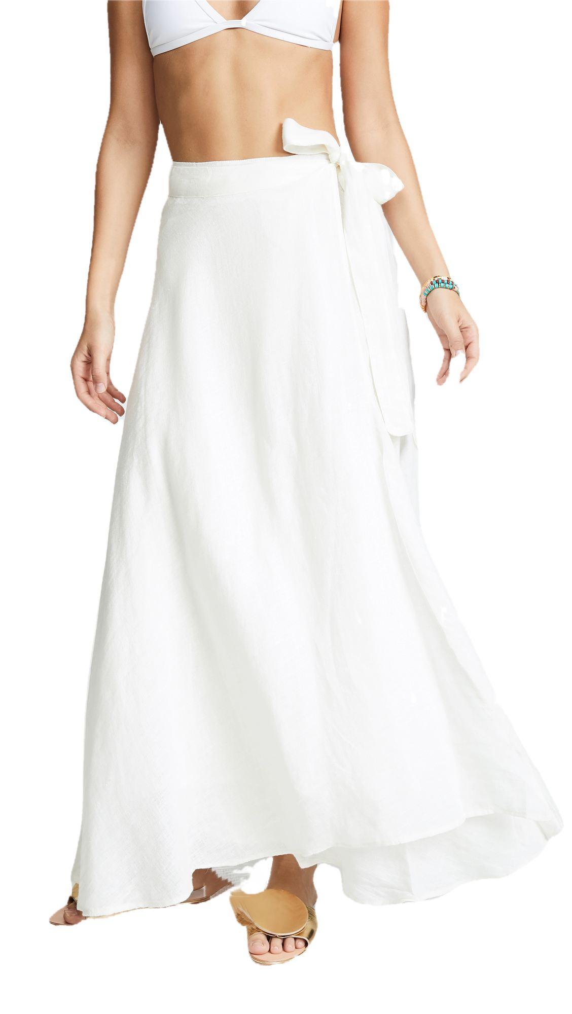 Flared Full Length Wrap Skirt  in White