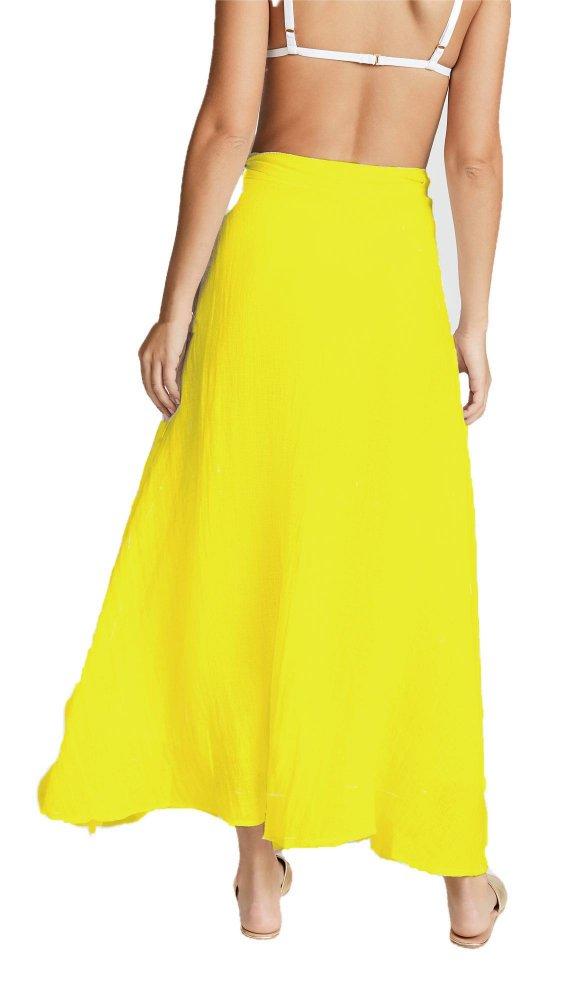 Flared Full Length Wrap Skirt  in Yellow