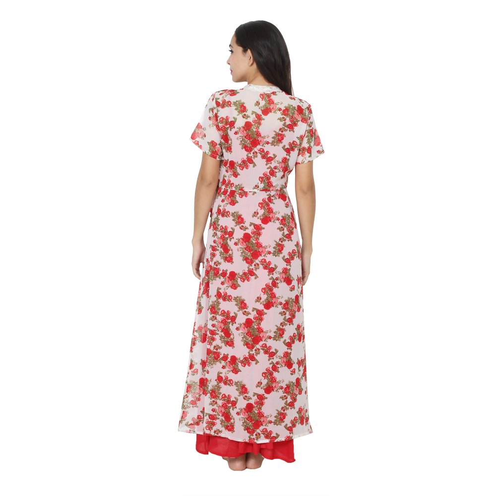 Floral Maxi Nighty With Robe in Red