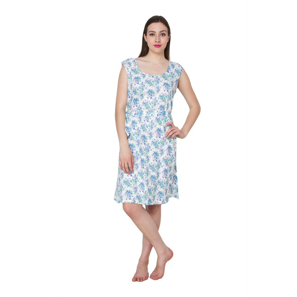 Floral Print Midi Night Dress in Blue Print