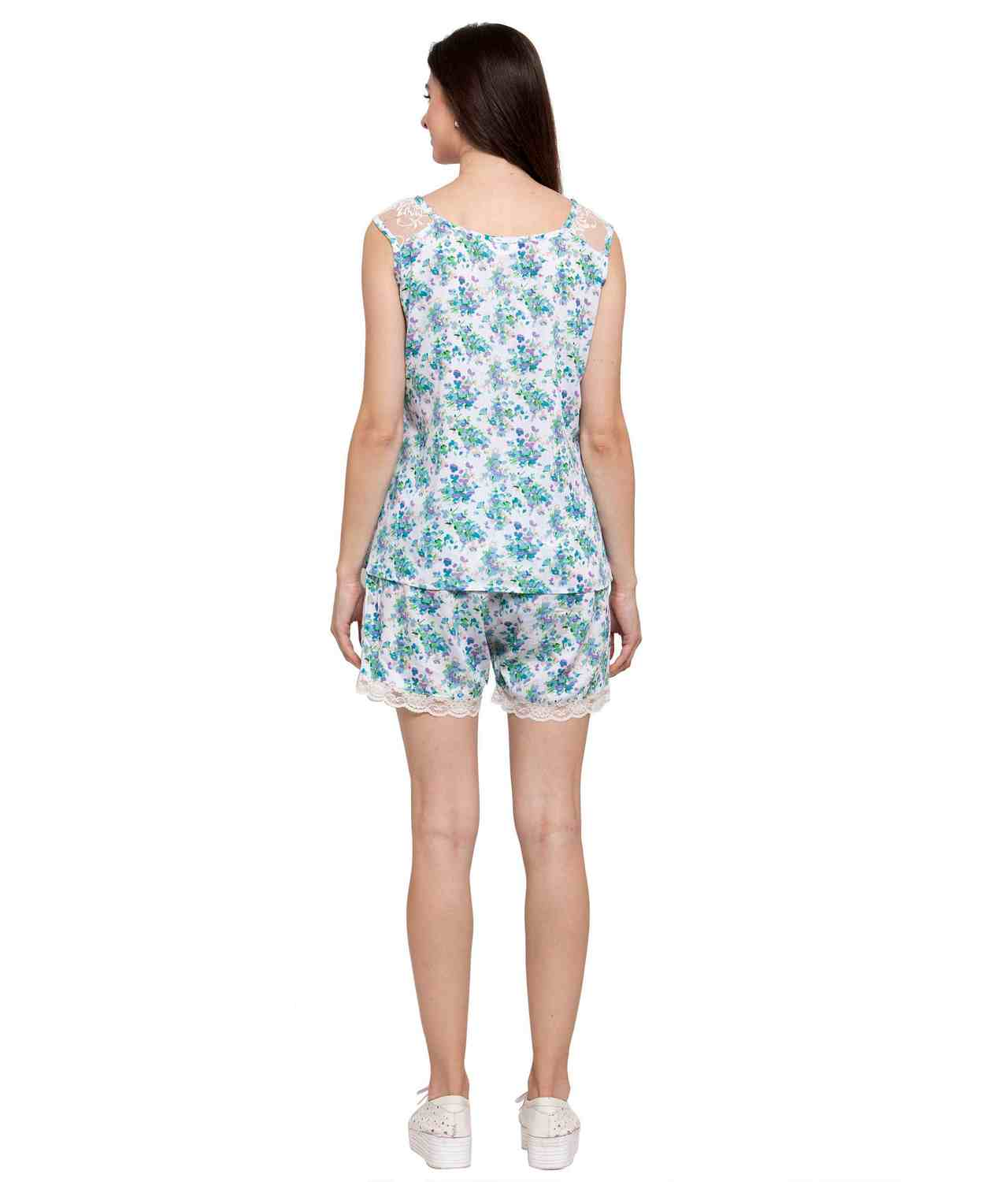 Floral Print Night Top and Shorts Set in Blue