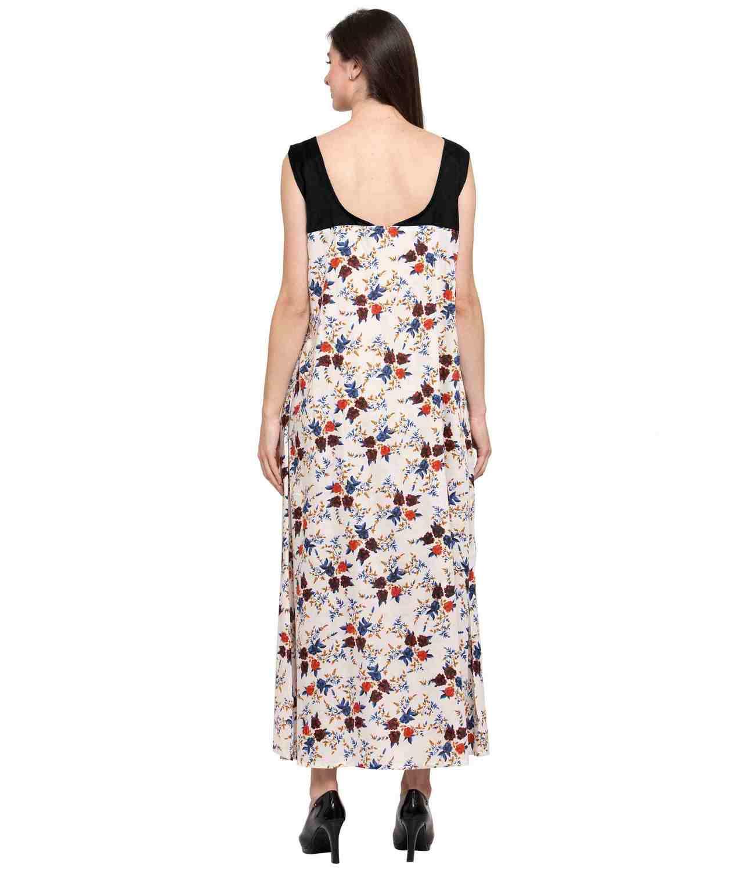 Floral Sleeveless Blouson Maxi Nighty in Black:Cream Print