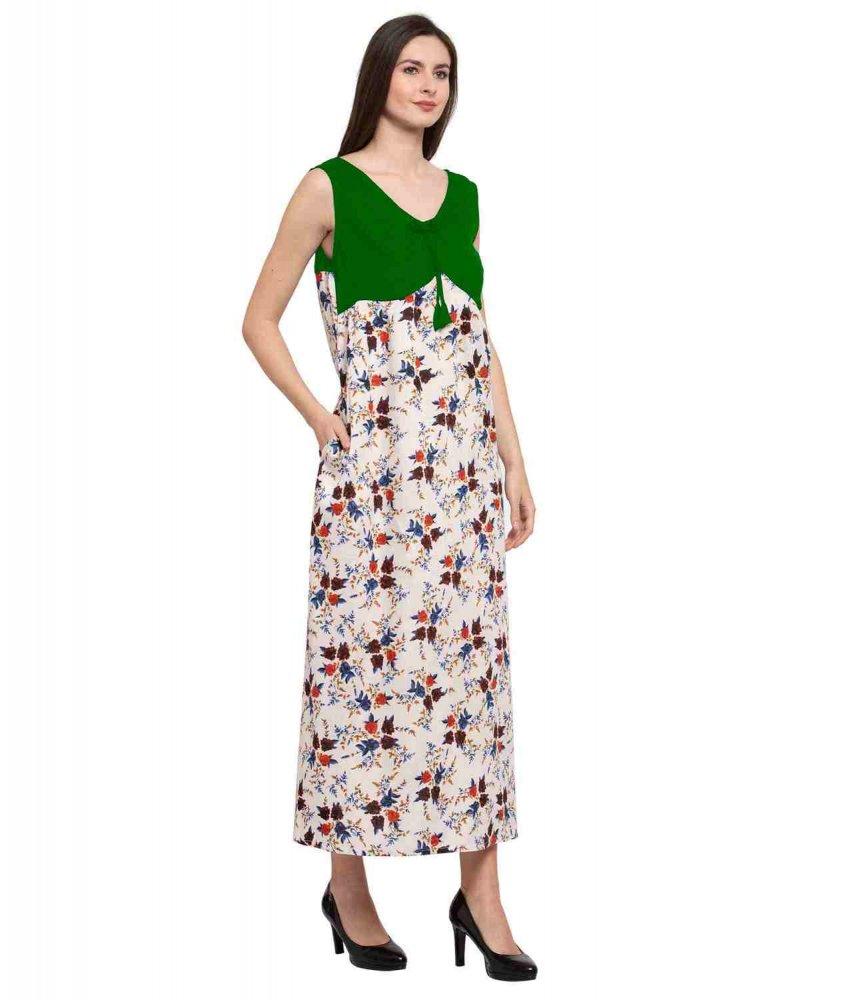 Floral Sleeveless Blouson Maxi Nighty in Bottle Green:Cream Print