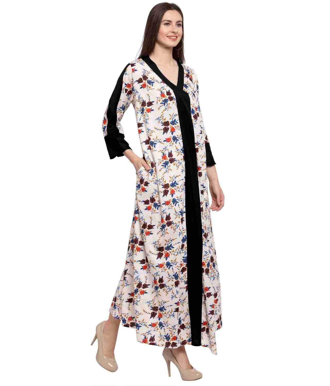 Floral Wrap Maxi Night-Gown Nighty in Black:Cream Print