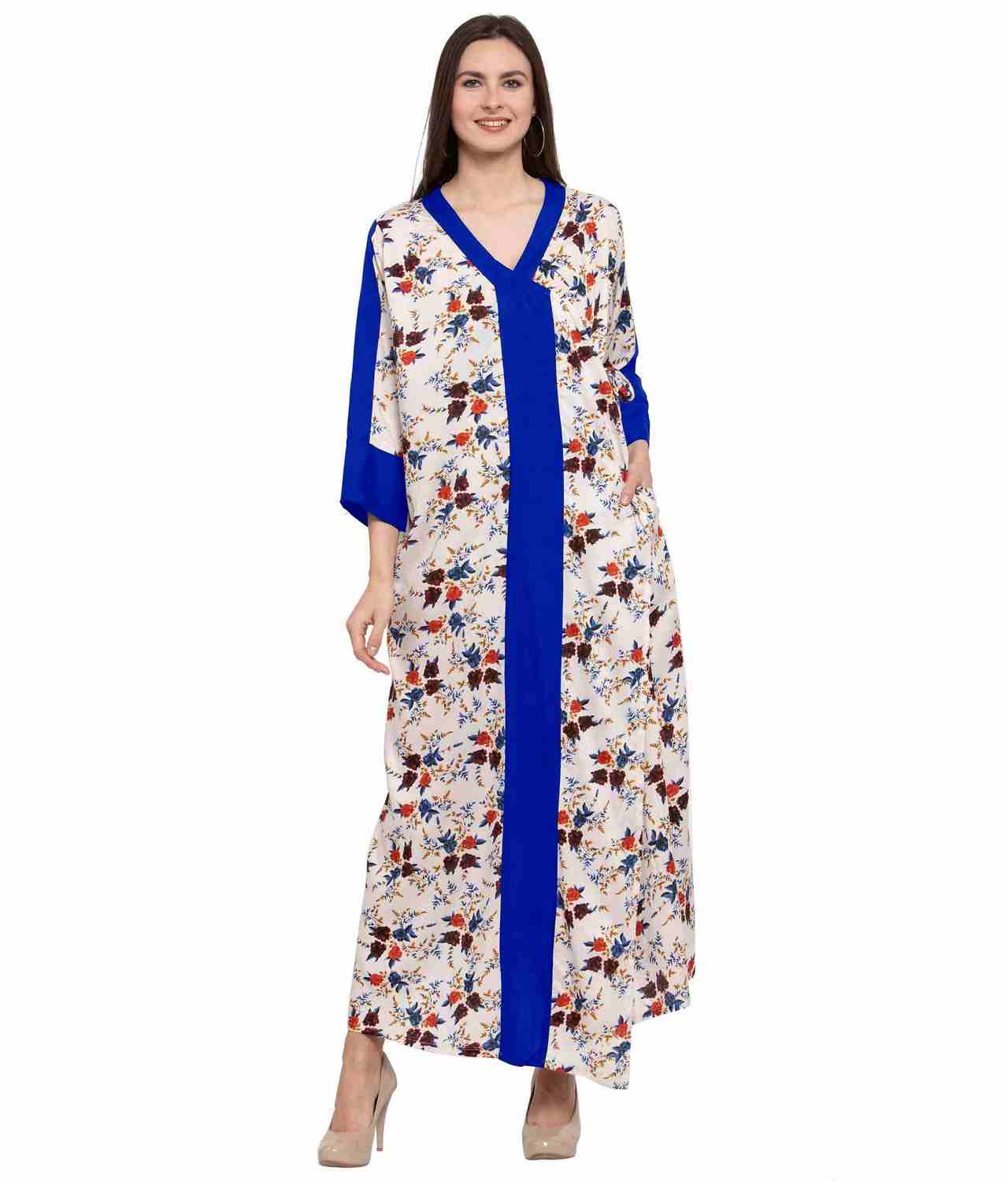 Floral Wrap Maxi Night-Gown Nighty in Royal Blue:Cream Print