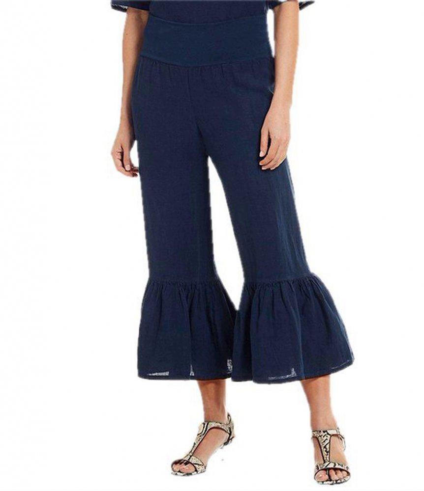 Frayed Frill Hem Capri Pant in Dark Blue