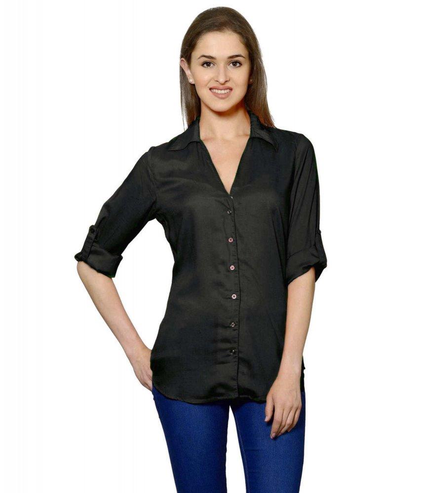 Grandad Collar Shirt in Black