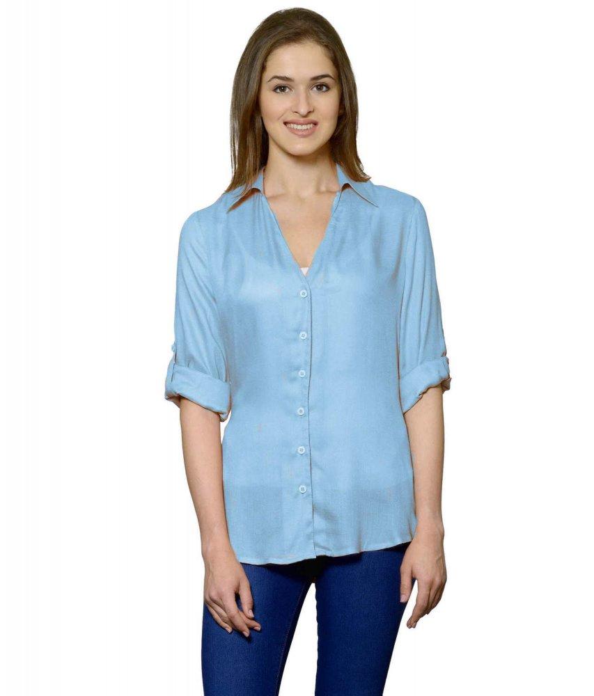 Grandad Collar Shirt in Light Blue